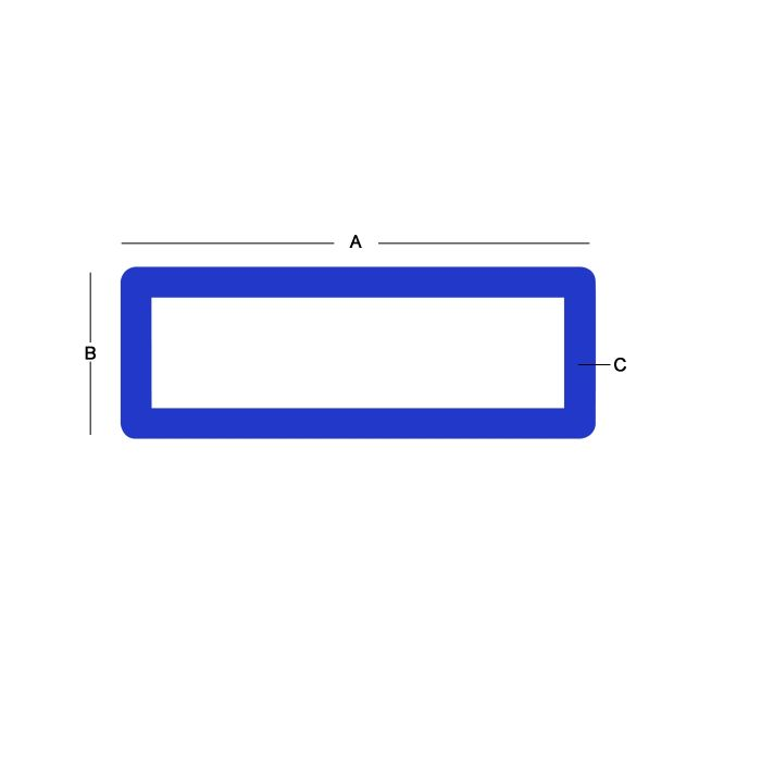 6061 Aluminum Rectangular Tube - 0.12 X 2 Inch X 1 Inch