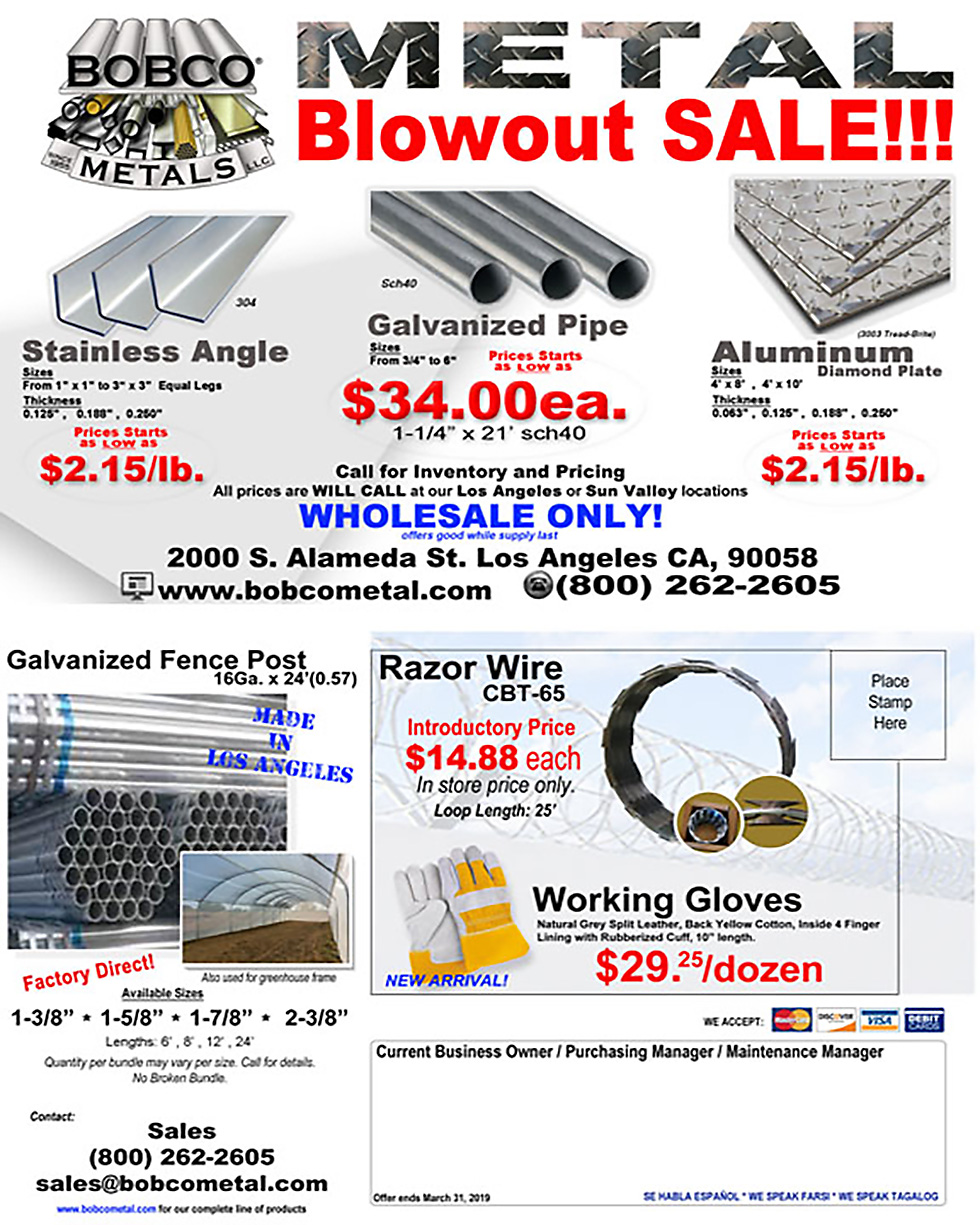 Check out Bobco's Special Deals on Metal Products and Hardware