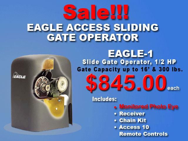 Eagle I Sliding Gate Operator with Monitored Photo Eye